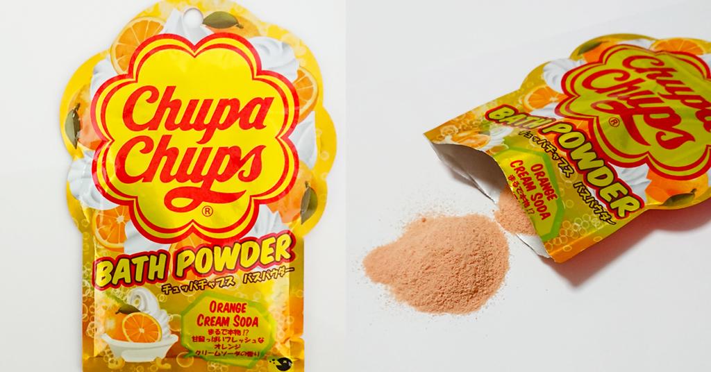 バスパウダー、チュッパチャップスのオレンジクリームソーダの香り入浴剤パッケージ